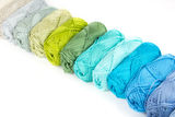 Colorful skeins of Yarn. Blue and green Stock Photography