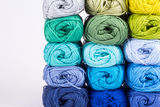 Colorful skeins of Yarn. Cold color in block Royalty Free Stock Images