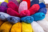 Colorful skeins of Yarn. Rainbow color Royalty Free Stock Photo