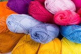 Colorful skeins of Yarn. Rainbow color Stock Photo