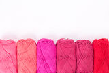 Colorful skeins of Yarn. In row Royalty Free Stock Images