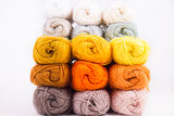 Colorful skeins of Yarn. Warm color Royalty Free Stock Photography