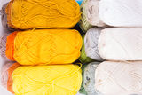 Colorful skeins of Yarn. Warm color Stock Images