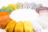 Colorful skeins of Yarn. Warm color round Royalty Free Stock Image
