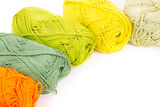 Colorful skeins of Yarn. On white background Royalty Free Stock Photo
