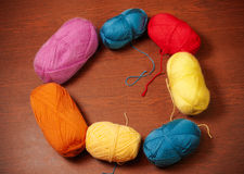 Colorful skeins of yarn Royalty Free Stock Photos