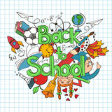 Colorful sketch Back to School Background. Royalty Free Stock Photo