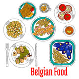 Colorful sketch dishes of native belgian cuisine Stock Image