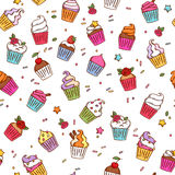 Colorful sketch doodle style cupcakes pattern Royalty Free Stock Image