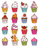 Colorful sketch doodle style cupcakes set Royalty Free Stock Image