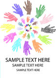 Colorful sketch of hand in round pattern Stock Image