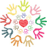 Colorful sketch of heart in hand in round pattern Stock Images