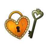 Colorful sketch heart shape lock and key Stock Photography