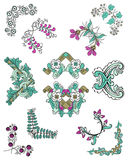 Colorful Sketch Ornamental Floral Corners Set. With blooming decorative flowers leaves and branches isolated vector illustration Royalty Free Stock Image