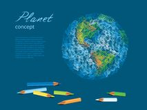 Colorful sketch of planet Earth and pencils Royalty Free Stock Photography
