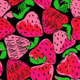 Colorful Sketch Seamless Pattern Of Strawberries. Stock Photos