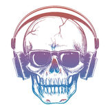 Colorful sketch of skull and headphones Stock Photography