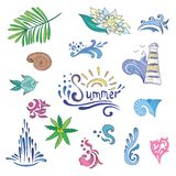 Colorful Sketch Style Summer Icons. Vector signs and swirls set for travel, vacation, tourism design with sea waves, water drops and tropical plants Royalty Free Stock Image