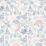 Colorful sketch travel pattern Royalty Free Stock Photo