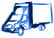 Colorful Sketch of a truck isolated Royalty Free Stock Photography