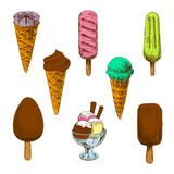 Colorful sketches of ice cream desserts Stock Images