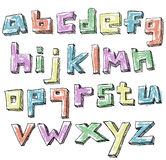 Colorful sketchy hand drawn lower case alphabet Royalty Free Stock Photography