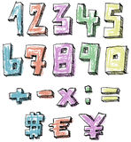 Colorful sketchy hand drawn numbers Royalty Free Stock Photos