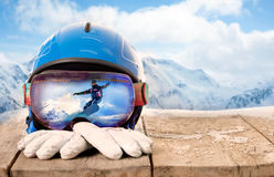 Colorful ski glasses and winter gloves,winter sport concept Royalty Free Stock Photo