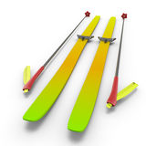 Colorful skis and sticks close-up Stock Photography