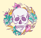 Colorful skull in floral wreath. Old School vector illustration. Retro colors Royalty Free Stock Images
