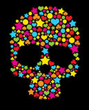 Colorful skull. With love, star shapes Royalty Free Stock Photo