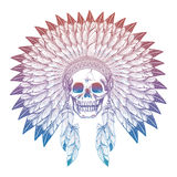 Colorful skull in native american headdress Royalty Free Stock Photography