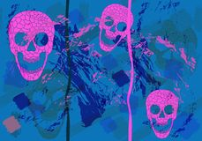 Colorful skulls on black background - seamless pattern Stock Photo