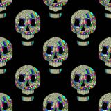 Colorful skulls on black background - seamless pattern Stock Photography