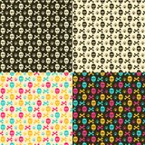 Colorful Skulls Head on Black or White Background. Seamless Halloween Pattern with Colorful Skulls Head on Black or White Background Stock Photography