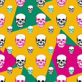 Colorful skulls print. Skull seamless pattern. Hand drawn swatch with color background for textile, fabric, wrapping. Vector art Stock Images