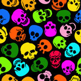 Colorful Skulls  seamless pattern. In black background Royalty Free Stock Photos