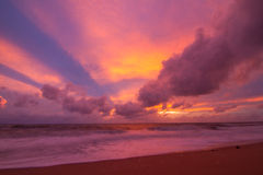 Colorful sky and the beach Royalty Free Stock Images