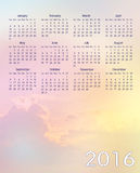 Colorful sky calendar 2016. Colorful sky new year 2016 calendar Stock Image