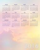 Colorful sky calendar 2016 Stock Image