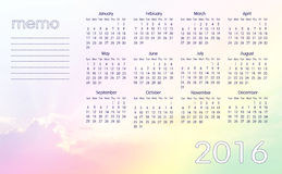 Colorful sky calendar 2016 Royalty Free Stock Photography