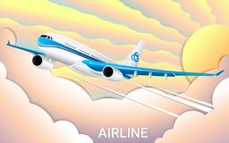 The flight of a passenger airplane. Cut out paper. Fashionable color gradients. Travel royalty free illustration