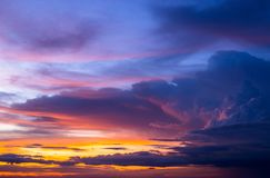 Colorful of sky and clouds in sunset Stock Images