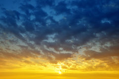 Colorful sky with clouds at sunset. Royalty Free Stock Image