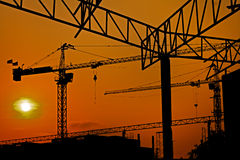 Construction site at twilight Stock Photo
