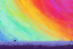 Colorful sky with elephants. / illustration drawing / landscape Stock Photos