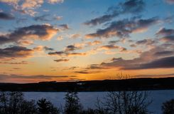 Colorful sky. Keuka lake dawn Stock Photo