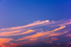Colorful sky with orange clouds. Stock Image