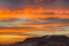 Colorful sky over Hollywood Stock Image