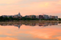 Madison downtown skyline with Wisconsin State Capitol building d royalty free stock photography